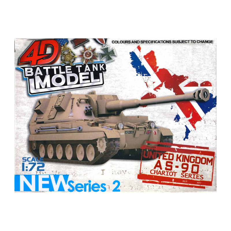 4D BATTLE TANK MODEL AS-90 modelis 1:72 mērogā